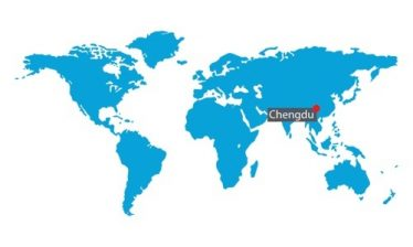 World map pinpointing Chengdu, China office.