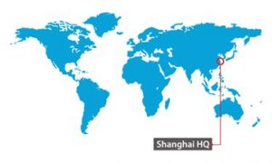 World map pinpointing Shanghai HQ