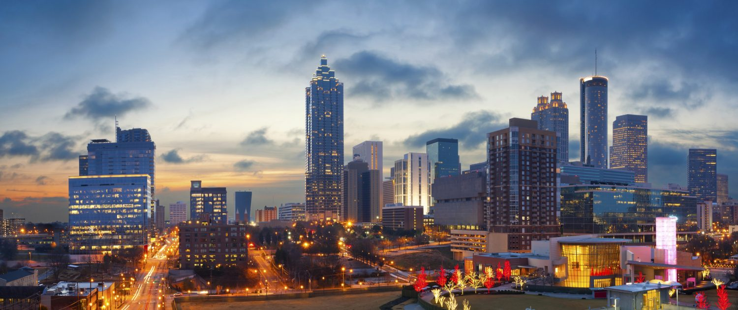 Panoramic image of the Atlanta skyline during sunrise.