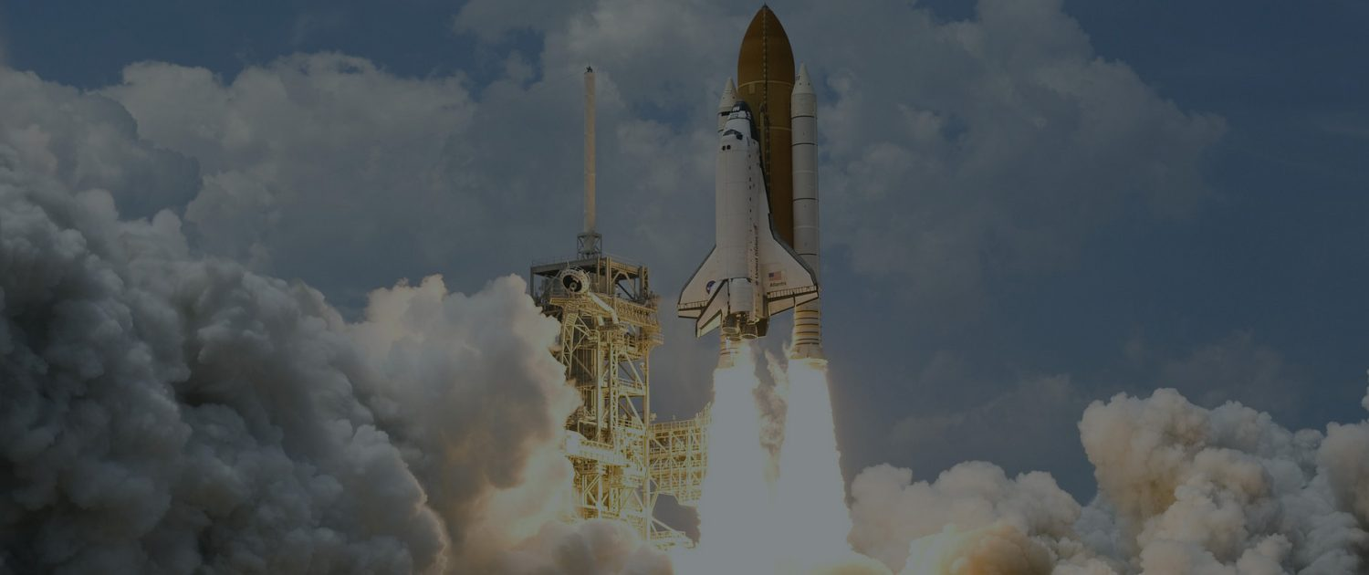A space shuttle launch to indicate 'take off'