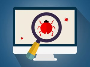 A cartoon depiction of a bug on a computer monitor with a magnifying glass over it.