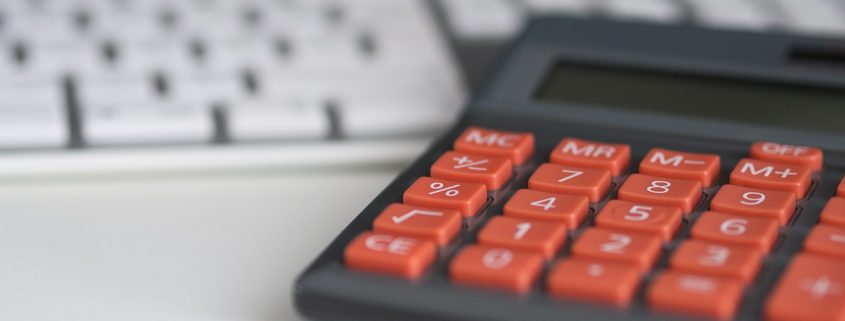 A calculator - used to illustrate calculation of insurance premiums.