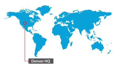 World map pinpointing US HQ in Denver, Colorado.